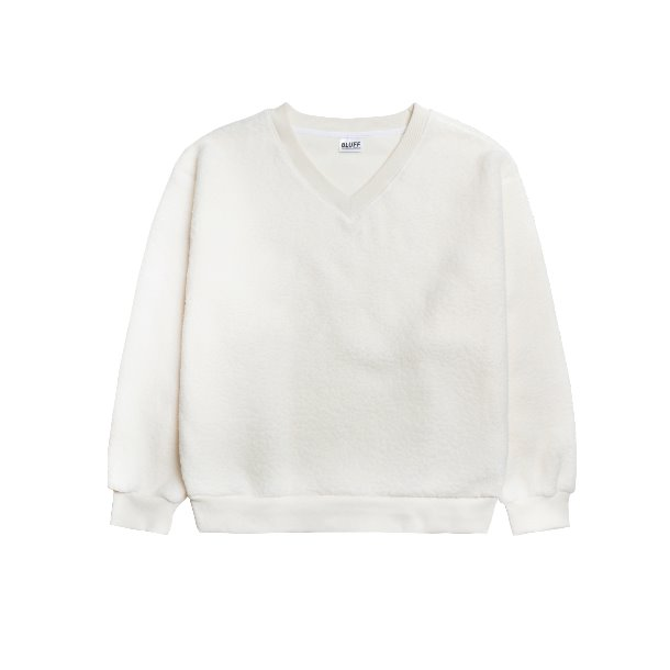 FLEECE V-NECK SWEAT [Cream]